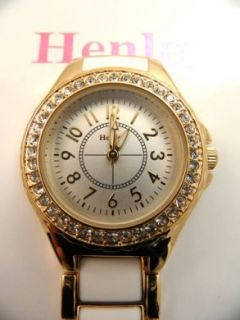 Ladies Nurses/ Doctors Henley Diamante White & Gold Enamell Fob Watch