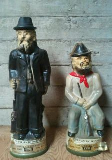 Hatfield McCoy Jim Beam whiskey decanter set 1973