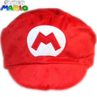Super Mario Bros Anime Cosplay Mario Red M Toy Plush Cap hat sport