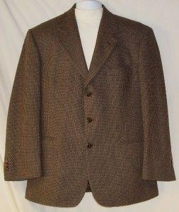 Mens John Henry Brown Tweed Wool Blend Sport Jacket 42R