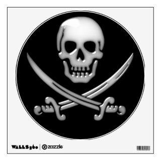 Glassy Pirate Skull & Sword Crossbones Wall Skins
