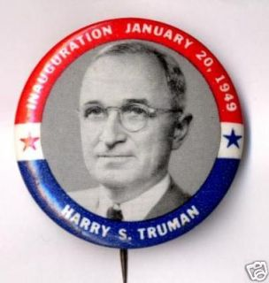 Harry s Truman Pin Pinback Button 1948 Campaign Inaug