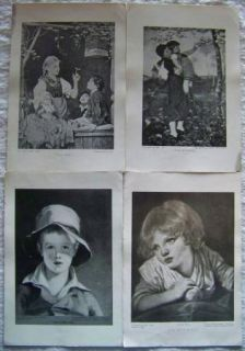 Vtg The Perry Pictures Collection B&W Children Boy Girl Tree Nature