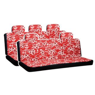 Hawaiian Red Flowers 2 Two Bench Row Car Seat Covers Package Free