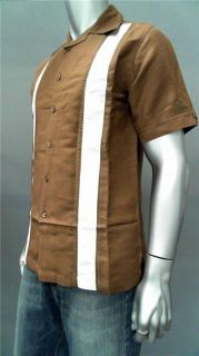Short Sleeve Button Down Shirt Light Brown Hawaiian Top Sale