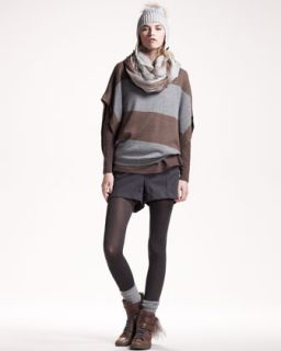 Brunello Cucinelli Metallic Striped Pullover, Fox Pompom Hat & Flannel
