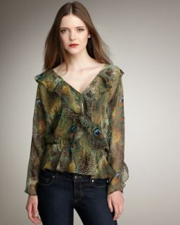 Haute Hippie Ruffled Peacock Blouse