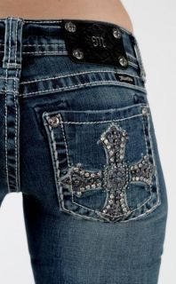 MISS ME New CRYSTAL CROSS STUDS & STONES Boot Cut Jeans SZ 25 26 27 28