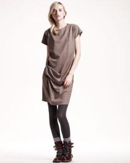 Brunello Cucinelli Ruched Flannel Dress