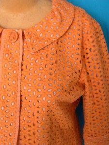 Fab Orange Chicos All Big Eyelet Gros Grain Ribbon Blazer Jacket Top 3