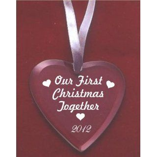 First Christmas Together 2012 Glass Heart Ornament