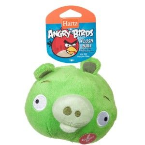 Hartz OFFICIAL Angry Birds Dog Toy Plush Ball w/ Soundchip ~Green Pig