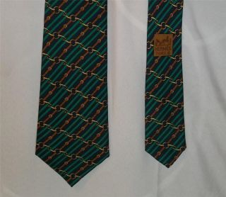 Hermes France Black w Green Stripes Brown Belt Links 986 SA Silk Tie