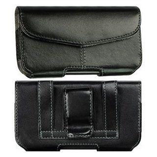 Leather Case Pouch Velcro Closure Black For Motorola Droid
