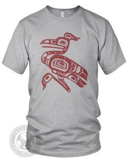 TOTEM HERON Native Indian Art American Apparel mens 2001 T Shirt L, H