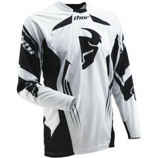 MX Motocross ATV Core Solid White Black Jersey 2XL XX Large