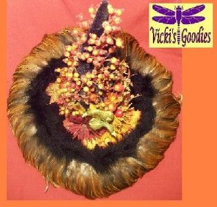 Fall Autumn Gourd Feathered Witch Hat Unique Thanksgiving Centerpiece