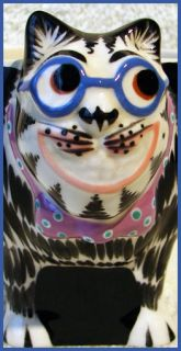 California Artist TOM HATTON Whimsical CAT w/ Blue Glasses MUG/CUP