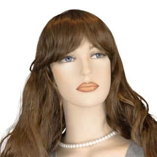 Long Wavy Auburn Wig With Strawberry Blonde Highlights And Bangs