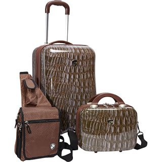 Heys USA 3 Piece Weekender Hardside Spinner Set Croco