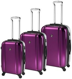 Heys Duotone TSA 4WD Spinner Luggage Set Purple Silver