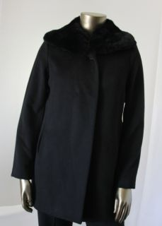 Hilary Radley New Black Womens Coat Size 6 Wool Faux Fur Collar