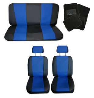 Lightweight Blue Black Synthetic Leather Car Seat Covers w Black Floor