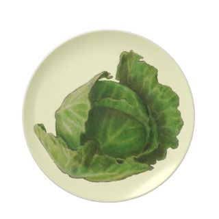 Head of Cabbage in Color Pencil Dinner Plate