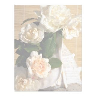 White roses and shell letterhead template