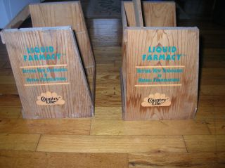 Vintage Liquid Farmacy Country Life Wooden Store Display Shelves Set