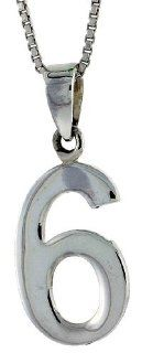 Sterling Silver Digit Number 6 Pendant 3/4 inch (18 mm