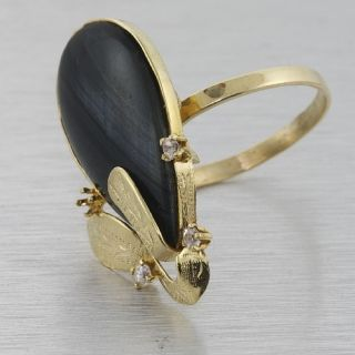 Striking Victorian 10K Yellow Gold Pear Shape Hawk Eye Quartz Ring