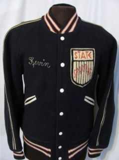 Vintage 60s State Spartans Navy Wool Varsity Jacket Retro Shirt L