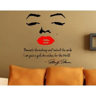 Marilyn Monroe Wall Decal Decor Quote Face Red Lips Large