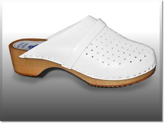 Genuine White Leather Wooden Sole Swedish Style Clogs Womens Mens All