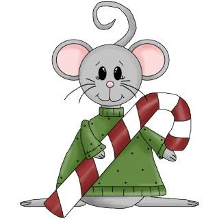 Adorable little Christmas mouse in green shirt holding a red and white