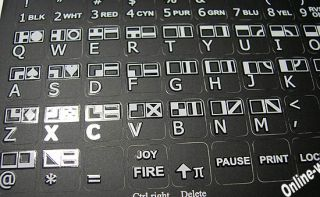 Commodore 64 Keyboard Stickers for Computer Laptop Blac