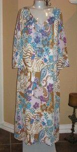 Anthony Mark Hankins Blue Gold White Print Long Dress XL
