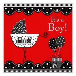 Red Black Train Baby Boy Shower Invitations