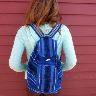 Ocean Blue Boho Hippie Cotton Guatemalan Woven Tribal BACKPACK