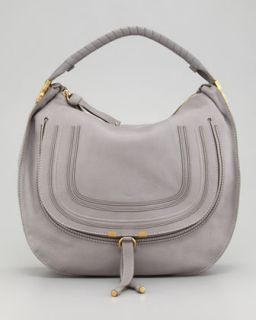 Marcie Large Leather Hobo Bag, Gray