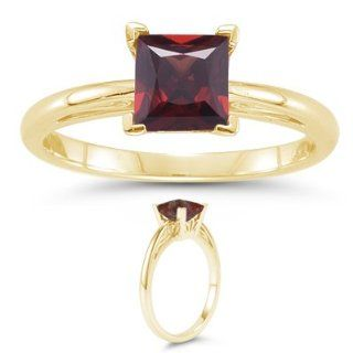 Cts Garnet Solitaire Ring in 18K Yellow Gold 3.5 Jewelry