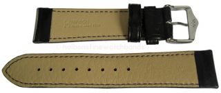 20mm Hirsch MERINO SHEEP Black Nappa Leather Watch Band Strap