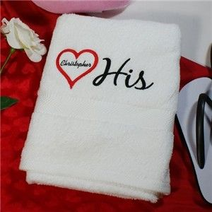 HIS & HERS PERSONALIZED EMBROIDERED COUPLES BATH TOWEL