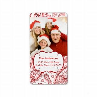 Red Paisley PHOTO Return Address Label