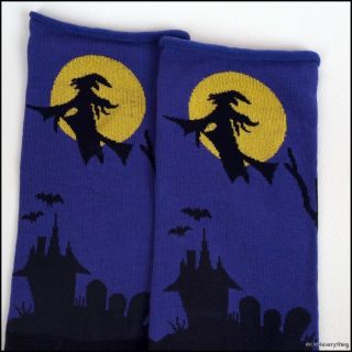 New Halloween Womens Crew Cute Witch Socks Black 9 11