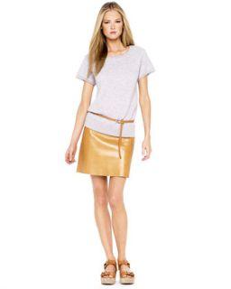 Michael Kors Cashmere Blend Sweatshirt, Skinny Leather Belt & Layered
