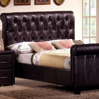 Modern Leather Headboard Footboard King Size 5 Pc Bedroom Set