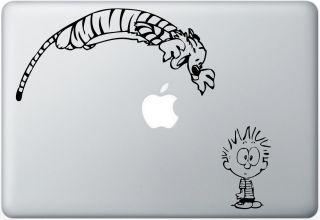Spoof Calvin and Hobbes Pounce Macbook Decal Laptop Auto Wall Sticker