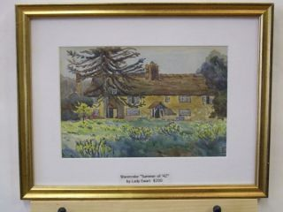 Lady Edwart Monogrammed Watercolor of A House in Woods